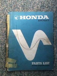 1973 Honda XR75 Parts List