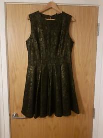 Next black and gold skater dress size 14