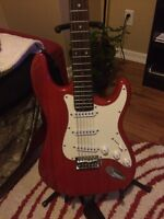 Red Typhoon guitar with Amp