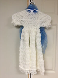 Hand knit baptism / christening gown
