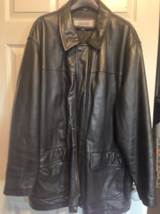 Men's Black 3/4 Leather Coat