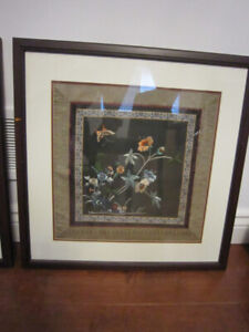 Antique Chinese Silk Embroidery Framed Wall Hangings Textile Art