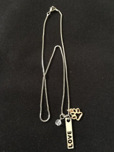 Necklace With Hand Stamped Pendant & Paw Charms - Love