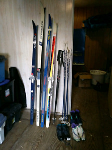 Cross country skis boots poles $15 each or $100 takes all