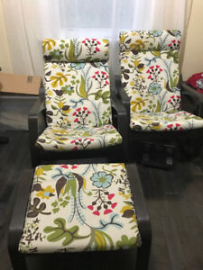 2 Ikea Poang Rocking chair with flower design and foot stool