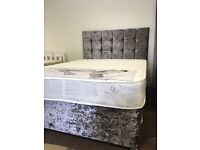 Crushed grey velvet double bed with mattress
