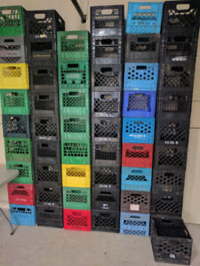 """Milk Crates-Strong/Stackable,green/black, 11x11x12"""",97 available"""