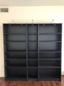 IKEA three piece billy bookcase in black-brown