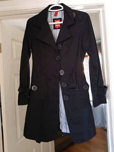 Long black spring belted jacket small