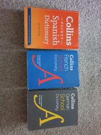 3 x Collins school dictionary Spanish / German / French vgc