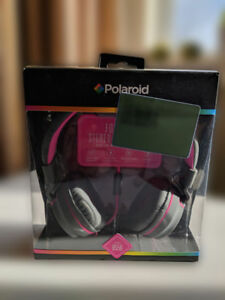 Polaroid Foldable Stereo Headphones 8556, grey and pink color