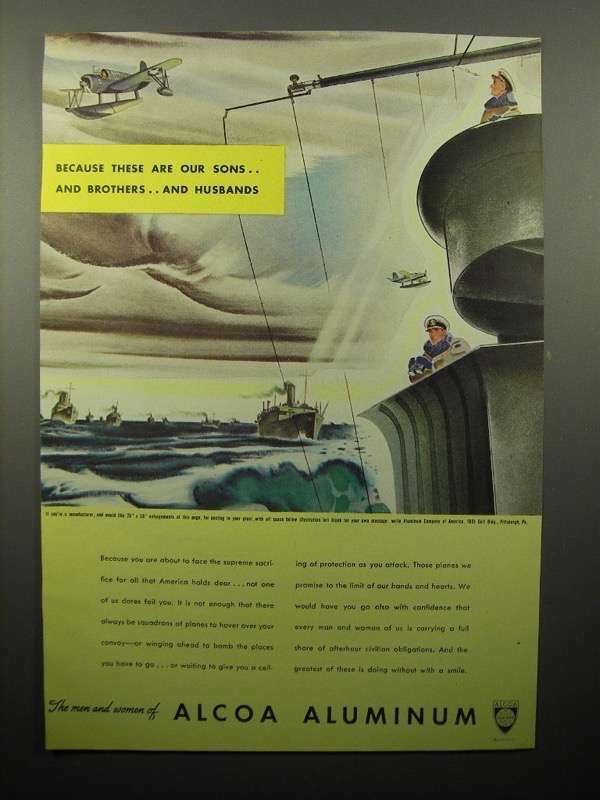 1943 WWII Alcoa Aluminum Ad - These are Our Sons