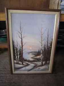 Large oil painting on canvas with hardwood frame. Kingston Kingston Area image 1