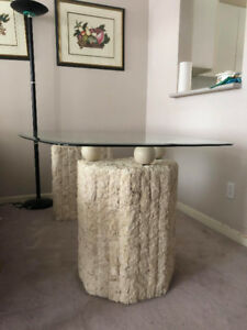 Marble Glass Dining Table + 4 Matching Chairs