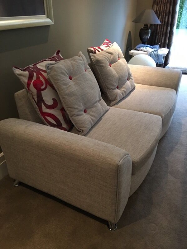 designer grey sofa scotch guarded 6 months old with footstool