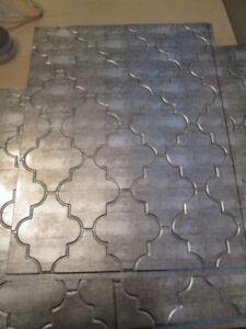 Kitchen Backsplash - Facade Panels, Cross Hatch Silver