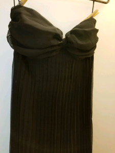 Gorgeous strapless black empire waist pleated gown