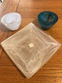 Partylite Frosted Swirl Glass Pillar Tray & Tealight Holders - Retired / Discontinued