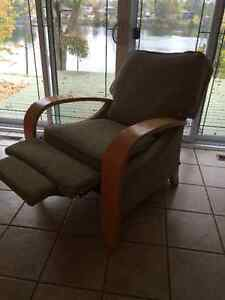 Olive Green Recliner with Light Wood Arms