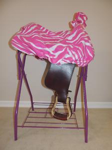 Custom Hot Pink Zebra Western Saddle Cover