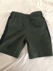 4T athletic material active wear shorts - army green and black