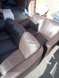 3 and 2 Seater Brown Leather Sofa + Tub Chair