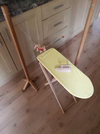 Wooden ironing board and washing line