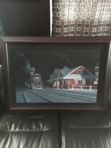 ORIGINAL MAX JACQUIARD BLUE RIVER TRAIN STATION PAINTING