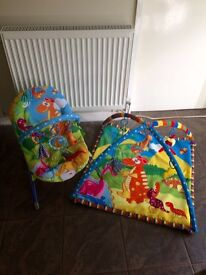 Baby bouncy chair and matching play mat