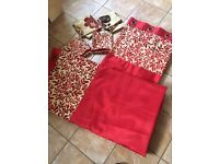 Faux silk red leaf panel curtains 90x90 free cushion covers (4)