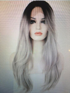 Ombre Gray 2 Tones Synthetic Lace Front Wig Dark Roots