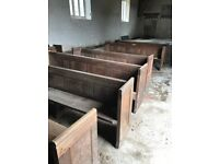 2 x oak pews and 1 x mahogany pew 8ft long