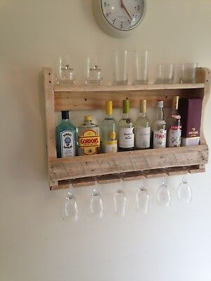 Pallet Rack (Pallet Wall Mounted, Wine Rack, rustic, made from reclaimed wood, Ideal present)