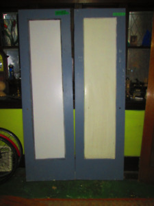 2 antique 82in tall solid wood ALBANY style 1panel DOORS
