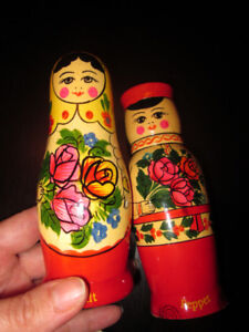 RUSSIAN made Salt and Pepper Shakers Shaped like Nesting Dolls