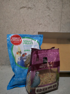Bird food and cage
