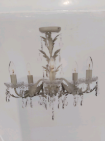 Ceiling light Chandelier antique cream and gold 5 arm