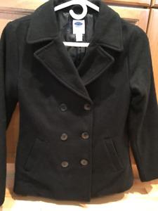 Old Navy Black Wool Pea Coat