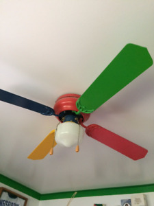 Multi colored ceiling fan with light