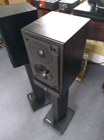 Mordaunt Short MS10i vintage audiophile speakers with Atacama stands