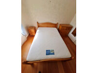 Heavy pinewood double bed frame and memory foam mattress £125