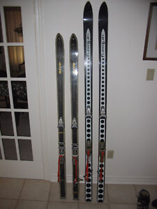 Older Downhill Skis and Ski Boots