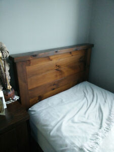 """Mennonite Built SIngle/Twin """"Rough Sawn"""" Panel Bed Complete"""