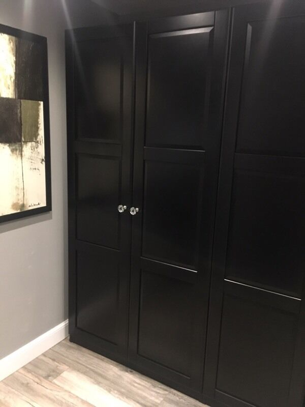 6x black ikea undredal wardrobe doors in rotherham. Black Bedroom Furniture Sets. Home Design Ideas
