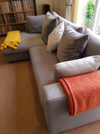 Chaise end corner sofa, extra chair & square ottoman.