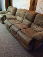 Microfibre reclining couch and armchair