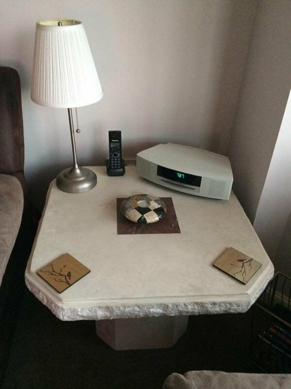 Composite Ceramic Coffee Table & matching Lamp Table