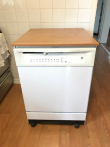 Portable Dishwasher with wooden counter top - General Electric