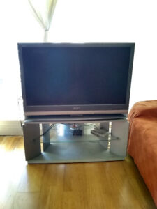 sony tv with glass stand