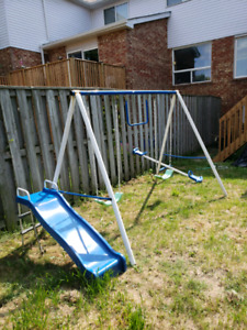 3 piece Swing set including slide and See Saw
